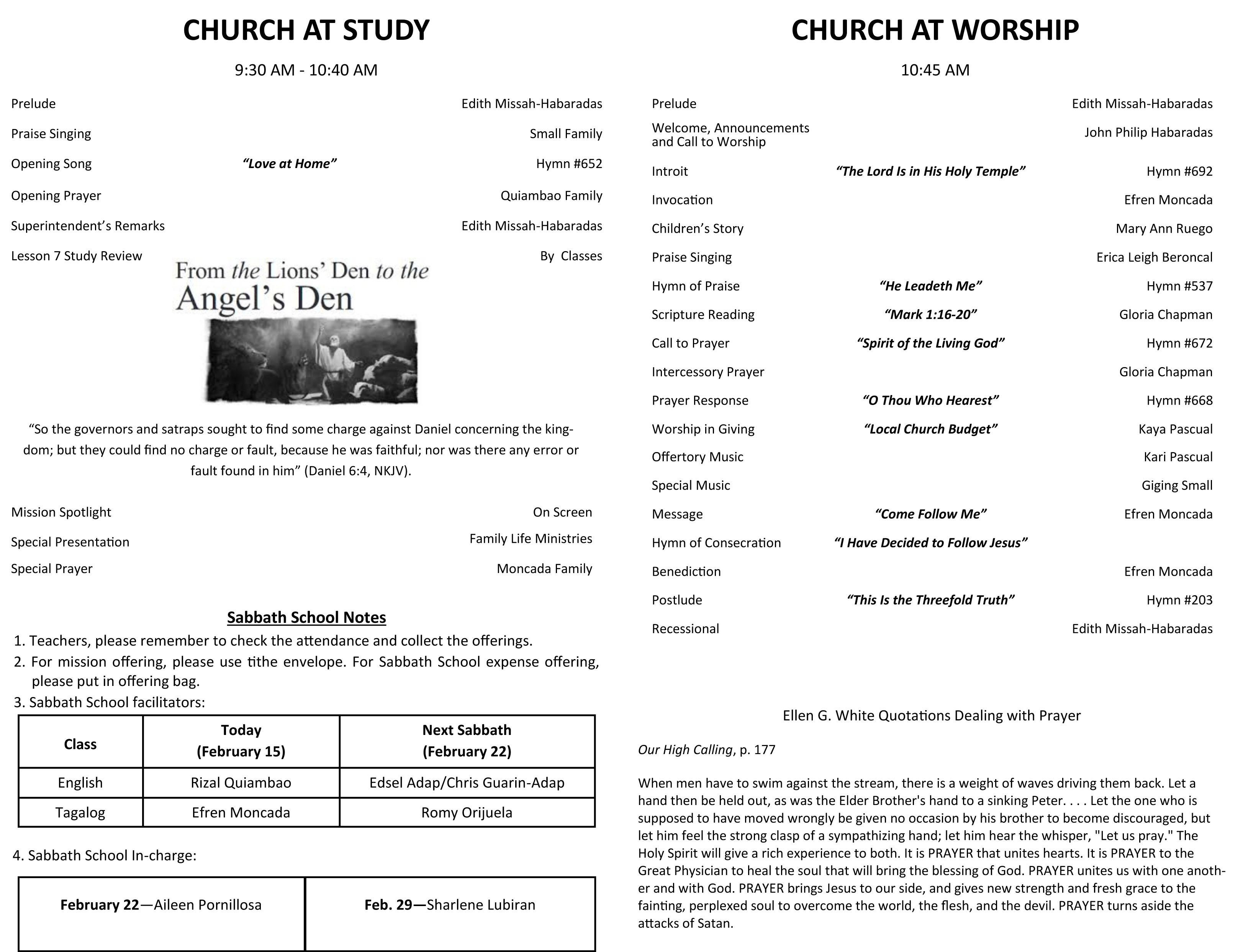 DFCC Church Bulletin February 15, 2020