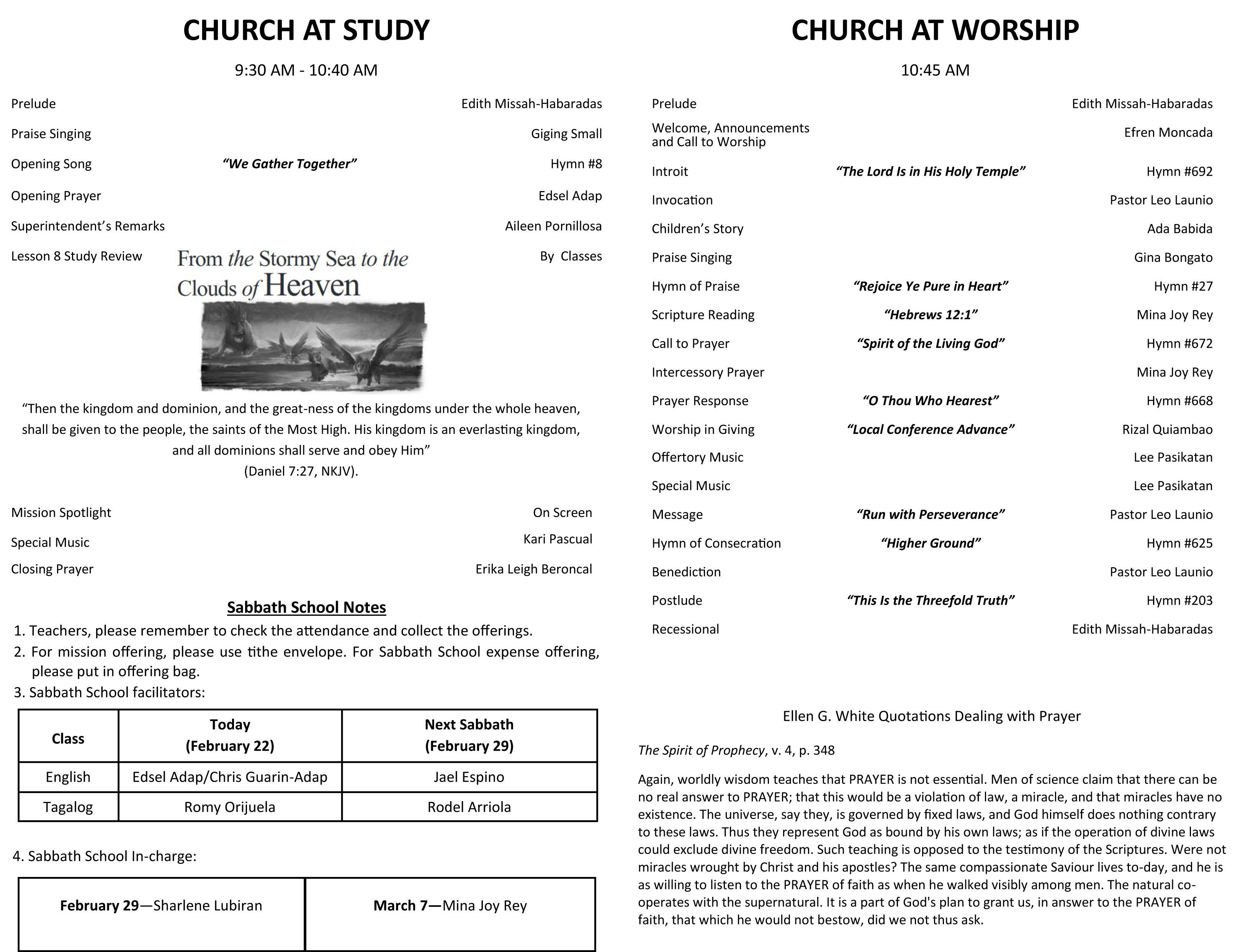 DFCC Church Bulletin February 22, 2020