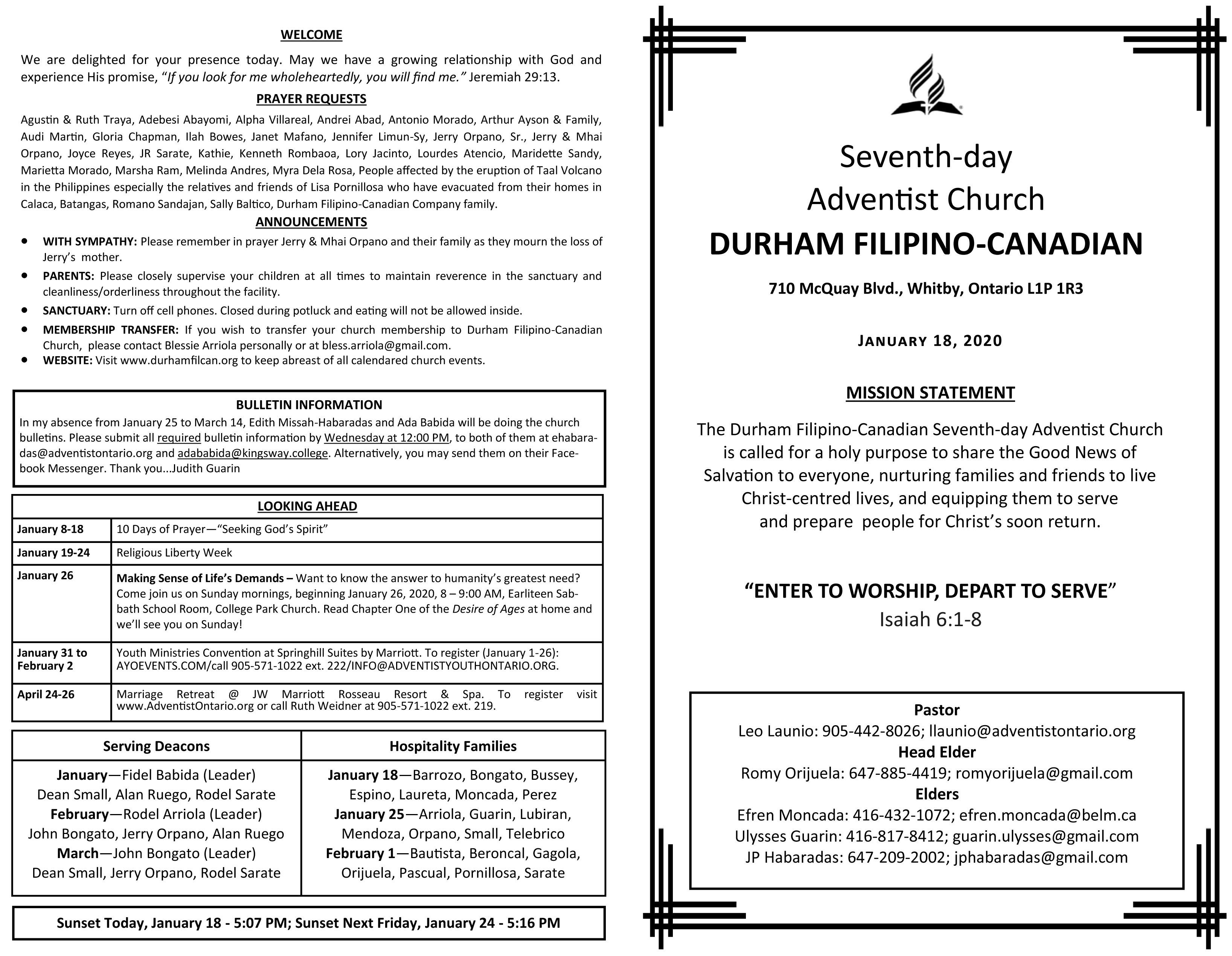 DFCC Church Bulletin Jan 18, 2020
