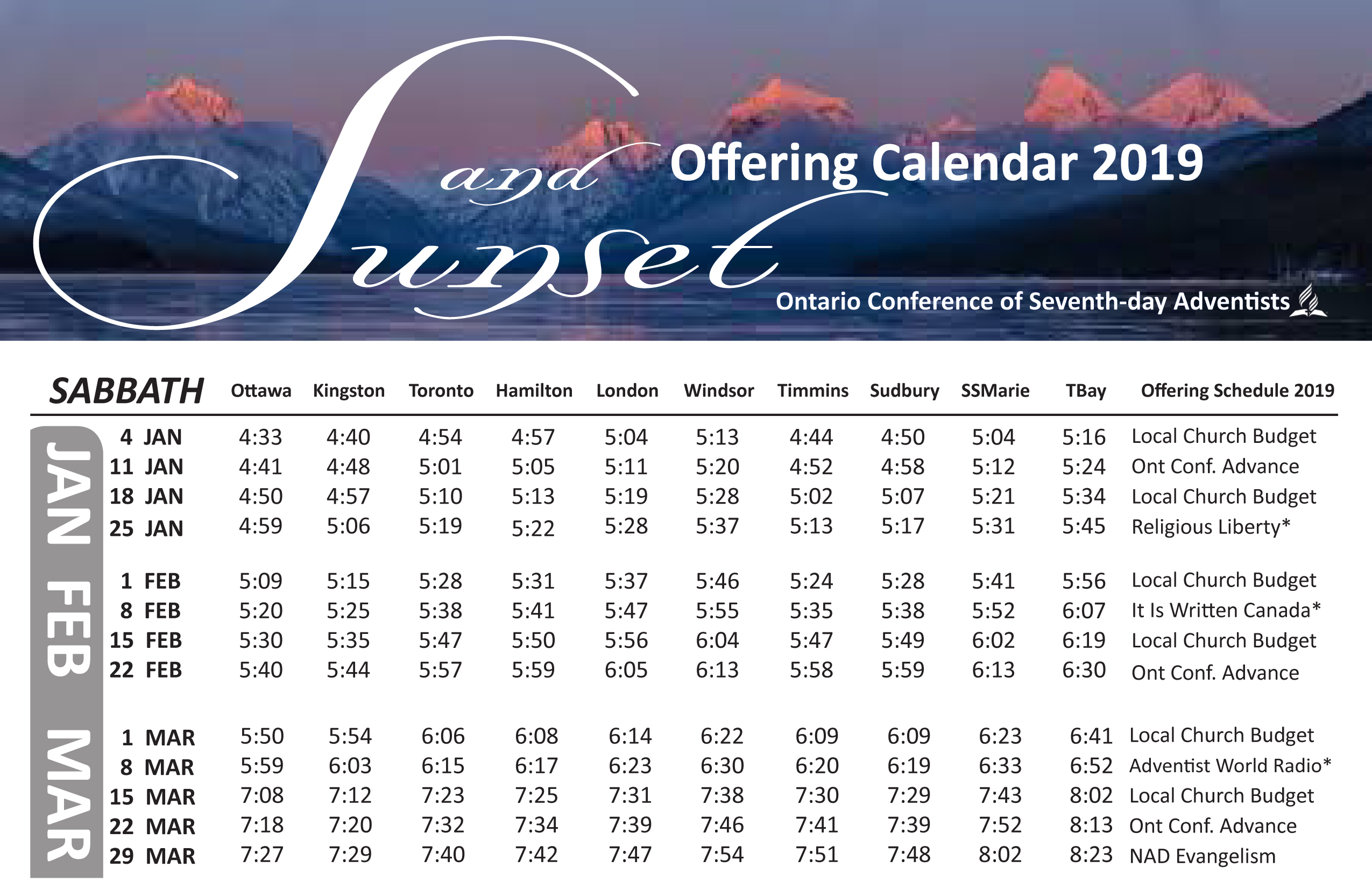 2019 Sunset Calendar Sunset Calendar – Durham Filipino Canadian SDA Church