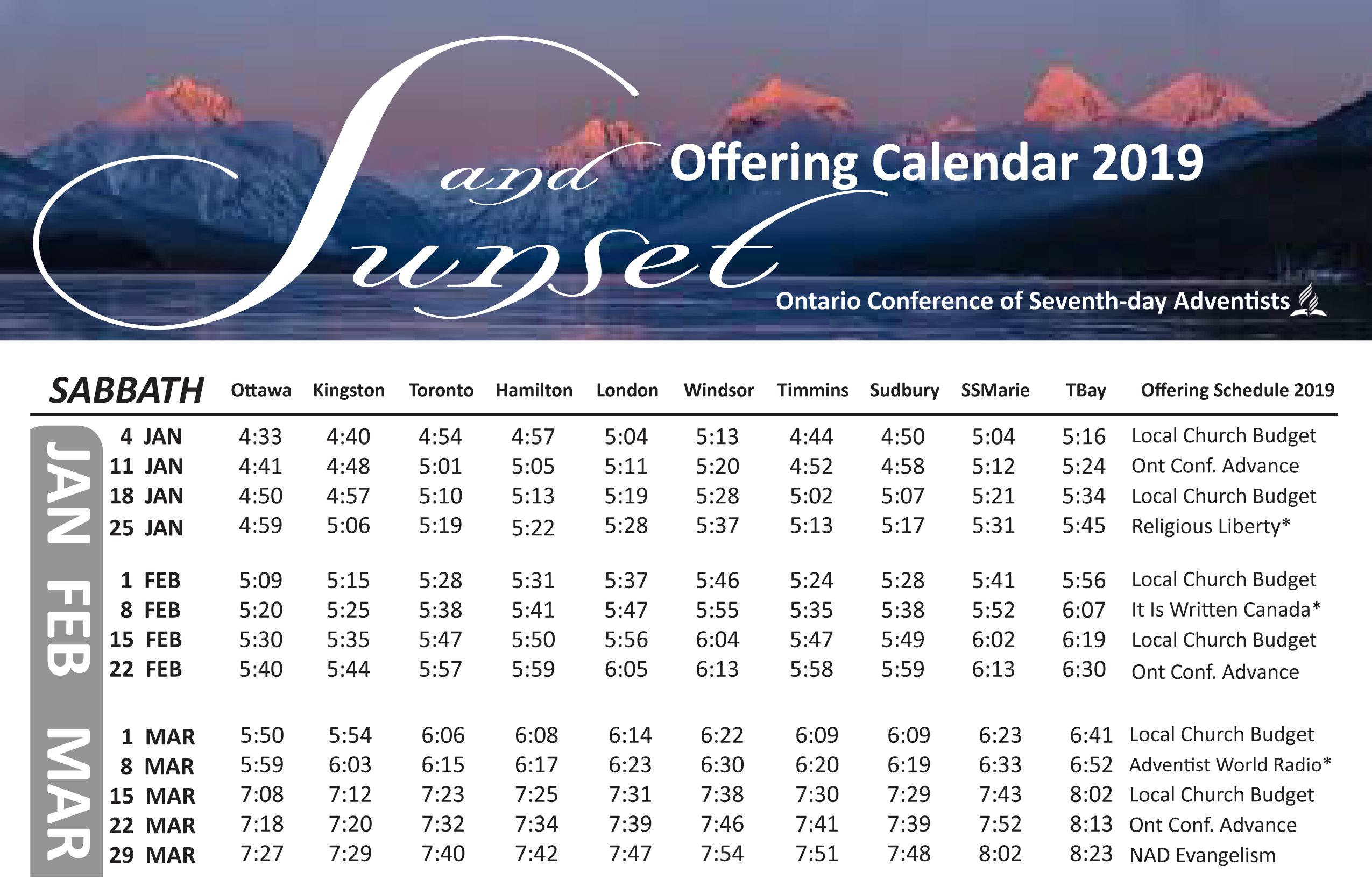 Sunset Calendar 2019